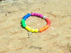 Elastisches Armband ★ Schlüssel ★ in knalligen Regenbogenfarben