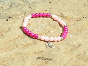 Elastisches Armband ★ Blume ★ in den Farben Rosa und Pink