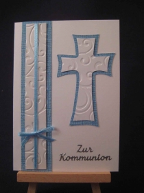 Karte / Klappkarte / Glückwunschkarte zur Erstkommunion / Kommunion  - Handarbeit kaufen