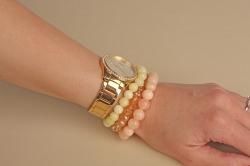 3 Armbänder- Naturstein- Frühlingsfarben