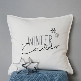 weiße Kissenhülle /Kissenbezug mit Aufdruck Winterzauber, 50 cm x 50 cm, Winter Dekoration
