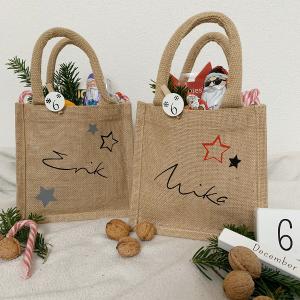 Jutetasche, Geschenktasche mit Namen Schreibschrift, für Nikolaus oder Weihnachten