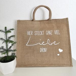große Jutetasche, Shopper, nachhaltige Einkaufstasche