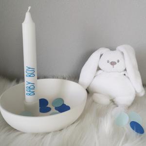 3er oder 5er Set weiße Stabkerzen Baby Boy, Dekoration für Babyparty, Babyshower, Geburt