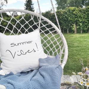 Bügelbild, Aufbügler für Kissenbezug Summer Vibes, Kissen, Kissenhülle, Geschirrtuch, schwarz oder weiß