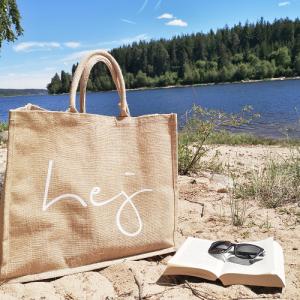 große Jutetasche hej, Shopper, nachhaltige Einkaufstasche, Strandtasche