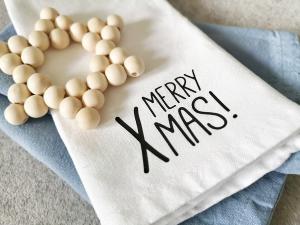 Set aus 6 Bügelbildern Merry Xmas, Aufbügler für Stoffservietten, Küchentextilien, Geschirrtuch, Servietten Weihnachten, schwarz oder weiß