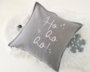 Bügelbild Ho ho ho!, Aufbügler für Kissenbezug, Kissen, Kissenhülle, Geschirrtuch, schwarz oder weiß, Weihnachten