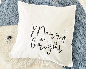 Bügelbild Merry & bright, Aufbügler für Kissenbezug, Kissen, Kissenhülle, Geschirrtuch, schwarz oder weiß, Weihnachten
