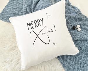 Bügelbild Merry Xmas!, Aufbügler für Kissenbezug, Kissen, Kissenhülle, Geschirrtuch, schwarz oder weiß, Weihnachten