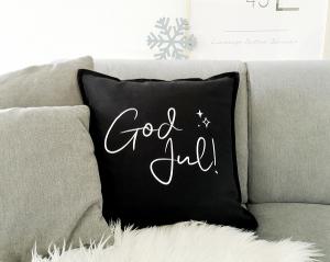 Bügelbild God Jul!, Aufbügler für Kissenbezug, Kissen, Kissenhülle, Geschirrtuch, schwarz oder weiß, Weihnachten
