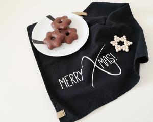 Bügelbild Merry Xmas, Aufbügler, Bügelmotiv für Geschirrtuch, Küchentuch, schwarz oder weiß, Weihnachten, Christmas - Handarbeit kaufen