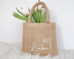 Jutetasche, Geschenktasche mit Aufschrift Alles Liebe, nachhaltige Geschenkverpackung - Handarbeit kaufen