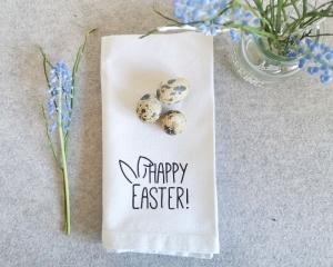 Set aus 6 Bügelbildern Happy Easter, Aufbügler für Stoffservietten, Küchentextilien, Geschirrtuch, Küchentuch, schwarz oder weiß - Handarbeit kaufen