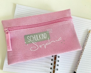 personalisiertes Stiftemäppchen, in 5 verschiedenen Farben erhältlich, Etui, Schlampermäppchen, Schulkind 2021, Einschulung - Handarbeit kaufen