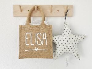 Personalisierte Jutetasche mit Name, Geschenkverpackung zur Geburt, Tasche für Kindergarten - Handarbeit kaufen