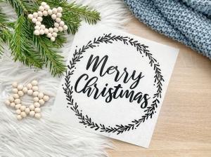 Bügelbild Merry Christmas, Aufbügler für Kissenbezug, Kissen, Kissenhülle, Geschirrtuch, schwarz oder weiß, Weihnachten - Handarbeit kaufen
