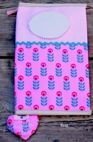 U-Hefthülle - Personalisiert ( mit Wunschnamen und, oder Geburtsdatum)- Herzanhänger und Fächern- aus Baumwolle und Kunstleder - Handarbeit kaufen