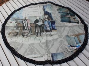 Schönes großes Geschirrhandtuch- in runder Form- aus Toile de Jouy  Leinen- Baumwollspitze- mit  Schmetterling Handgenäht- Unikat (Kopie id: 100208122)