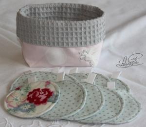 Abschminkpads- Reinigungspads- Kosmetikpads- waschbar- ca. 7,5 cm- Handarbeit- Nachhaltigkeit- 10St. inkl. Säckchen - Handarbeit kaufen