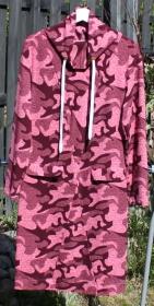 knielanges Kleid - Langarm - Schalkragen - Camouflage pink - Größe: 38/ 40 - Handarbeit kaufen
