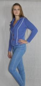 Blaue Strickjacke, Blazer gestrickt aus Merinowolle - Handarbeit kaufen