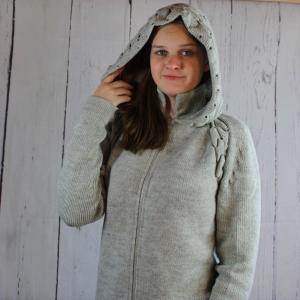 Strickjacke mit Kapuze| Alpaka| Strickjacke mit Reißverschluss - Handarbeit kaufen
