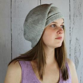 Gestrickte Baskenmütze Mütze grau  Damenmütze aus Alpaka - Handarbeit kaufen