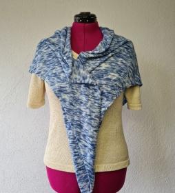 Dreiecktuch Blau Merinowolle Handgefärbt - Handarbeit kaufen