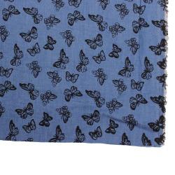 Jeans Blue Textil Bekleidungsstoff bedruckt mit Schmetterling Meterware