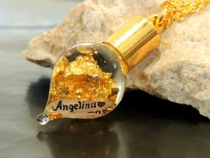 Goldkette mit Name Gravur 24 Karat Blattgold-Kette - Handarbeit kaufen