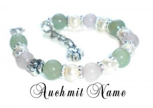 Taufarmband ♥ Babyarmband mit Rosenquarz und Aventurin-Perlen - Handarbeit kaufen