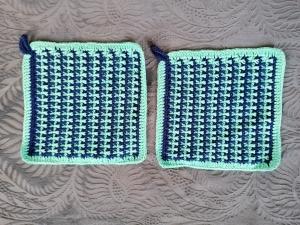 1 Paar gehäkelte Topflappen mit schönem Muster 100% Baumwolle