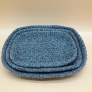 moderne gefilzte leichte Schmuckschalen in grau - Handarbeit kaufen