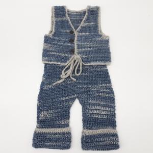 Mütze/Hose/Weste dreiteiliges Babyset aus 100% Merinowolle - Handarbeit kaufen