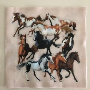Baumwollstoff Motiv Wildpferde - Handarbeit kaufen