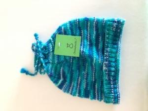 Blaue gestrickte Kindermütze, Kopfumfang ca. 38cm   - Handarbeit kaufen