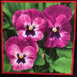 Baumwollstoff Motiv Blume Stiefmütterchen 18cm mal 18cm  - Handarbeit kaufen