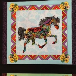 Baumwollstoff Panel Motiv Pferd   - Handarbeit kaufen
