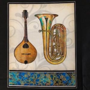 Baumwollstoff Panel Motiv Musikinstrumente  - Handarbeit kaufen