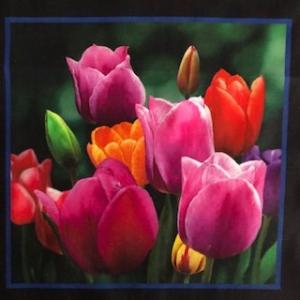 Baumwollstoff Motiv Blume Tulpen 18cm mal 18cm   - Handarbeit kaufen