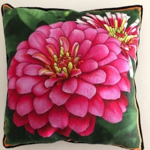Kleines Kissen mit Blumen / Zinnien - Handarbeit kaufen