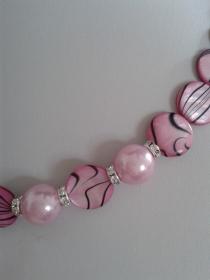 Schmuck Halskette Perlenkette pink schwarz Perlmutt mit Strass Elementen