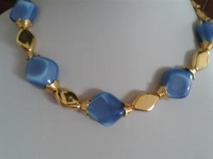 Schmuck Perlen Kette aus böhmischen Rauten mit edlem Gablonzer Verschluß 52 cm