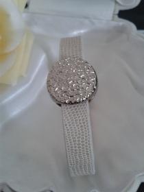 Schmuck Armband Nappaleder mit Krokko Struktur beige mit edler Slider Perle mit Magnetverschluß  20 cm
