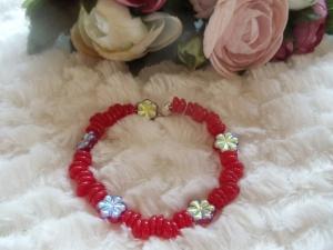 Bella rot Czech Perlen teilweise galvanisiert - Handarbeit kaufen