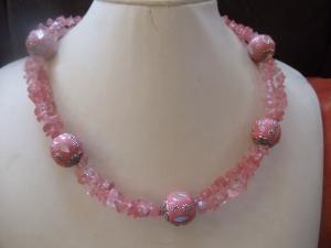 Rosalie 3-teiliges Schmuckset aus Rosenquarz Nuggets mit großen Kashmiri Perlen - Handarbeit kaufen