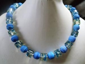Marlene blau Tornardo Perlen mit Acrylrondellen - Handarbeit kaufen