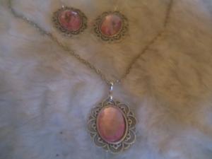 3-teiliges Schmuckset aus Cabochonträger und Cabochons silber/rosa - Handarbeit kaufen