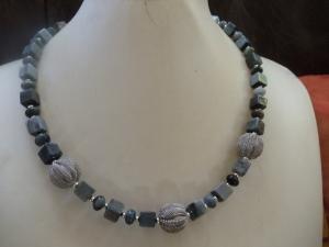 Frieda Falkenauge mit Silberkugeln Collier Statement Jewelry - Handarbeit kaufen